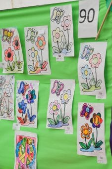 Pictures of sflowers coloured in by children